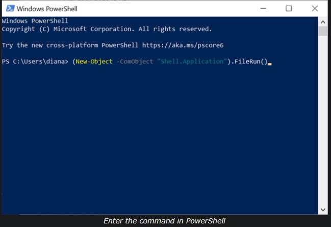 Open Run command using Windows PowerShell