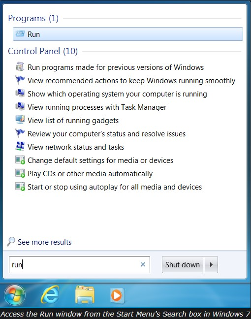 Run Command in Windows 7